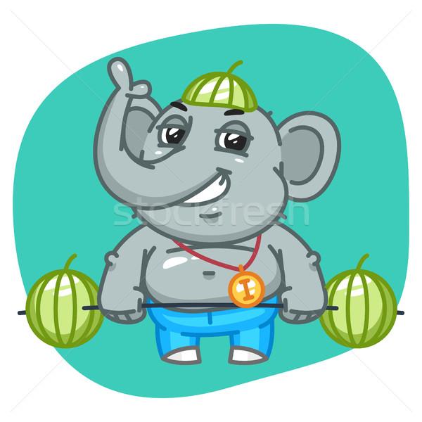 Elephant in Jeans Pants Raises Barbell of Watermelons Stock photo © yuriytsirkunov