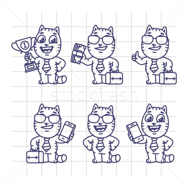 スケッチ セット 猫 文字 ビジネスマン ストックフォト © yuriytsirkunov