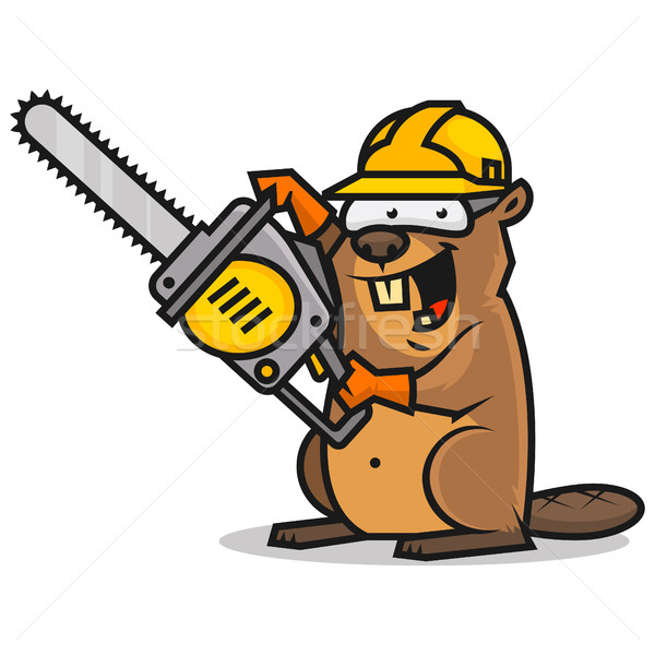Beaver holds chainsaw Stock photo © yuriytsirkunov
