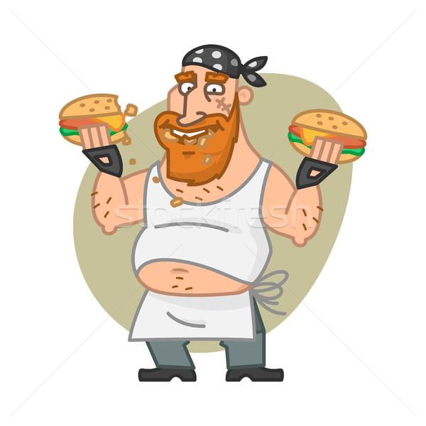Biker man eating hamburgers Stock photo © yuriytsirkunov