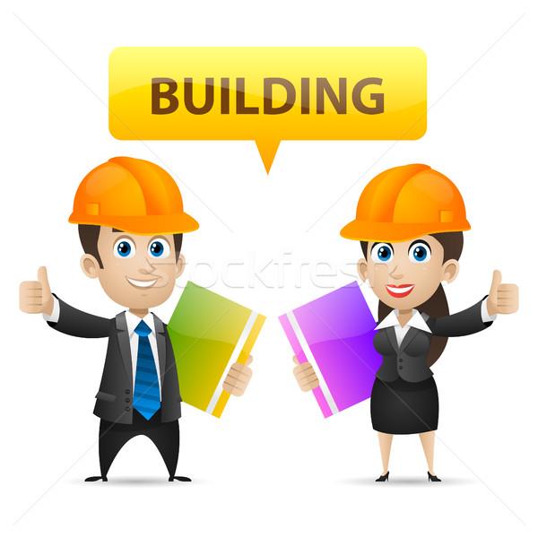 Construtores homem mulher ilustração Foto stock © yuriytsirkunov
