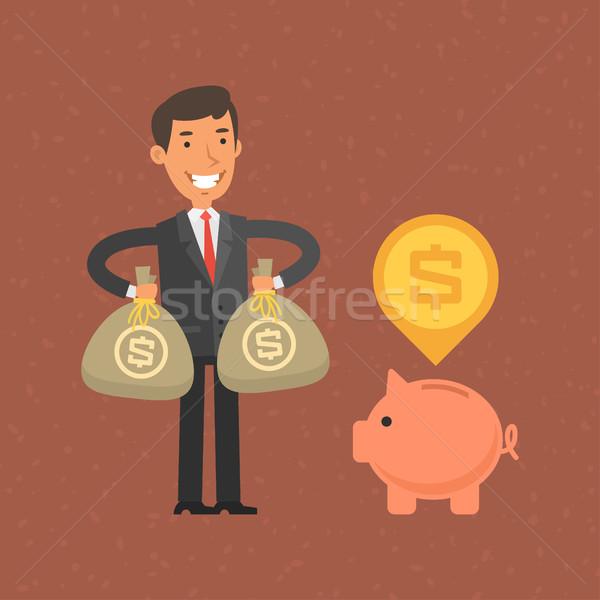 Zakenman geld spaarvarken illustratie formaat eps Stockfoto © yuriytsirkunov