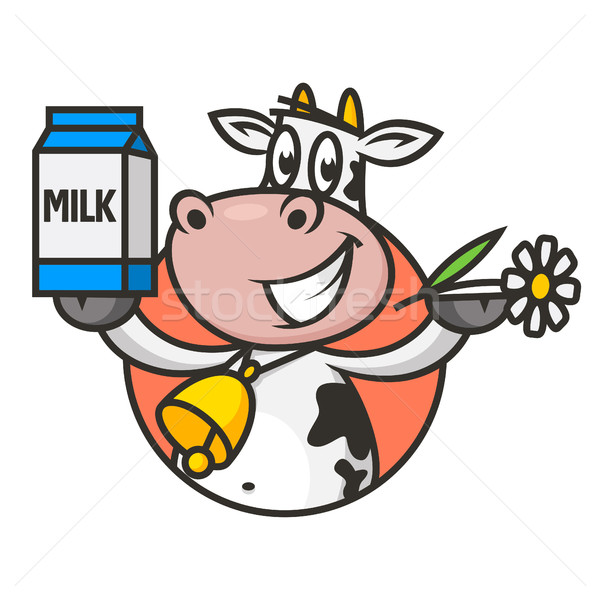 Stock photo: Emblem cow holds flower and packaging milk