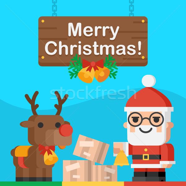 Święty mikołaj renifer christmas ilustracja format eps Zdjęcia stock © yuriytsirkunov