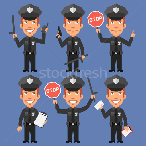 Policeman Holds Weapons and Stop Sign Stock photo © yuriytsirkunov