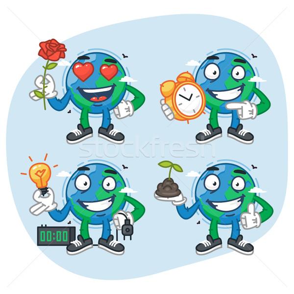 Set Characters Earth Holds Flower Clock Light Bulb Plant Stock photo © yuriytsirkunov