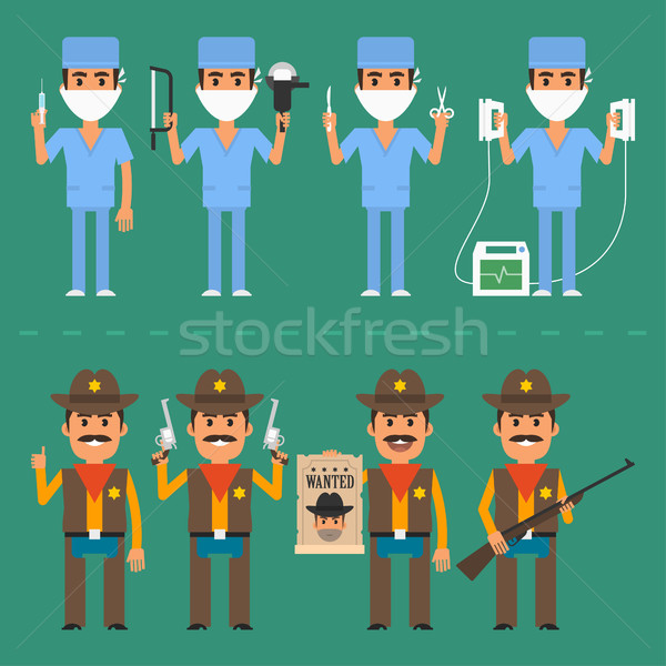 Sheriff and surgeon in various poses Stock photo © yuriytsirkunov