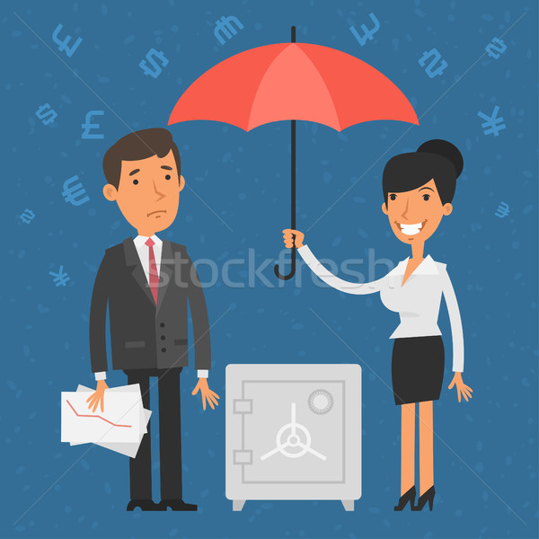 Empresário empresária guarda-chuva ilustração formato Foto stock © yuriytsirkunov