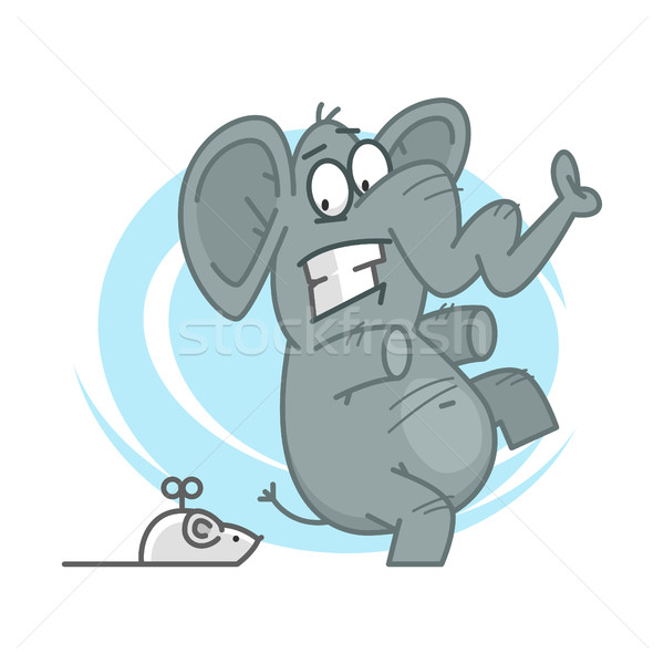 Elephant frightened of mechanical mouse Stock photo © yuriytsirkunov