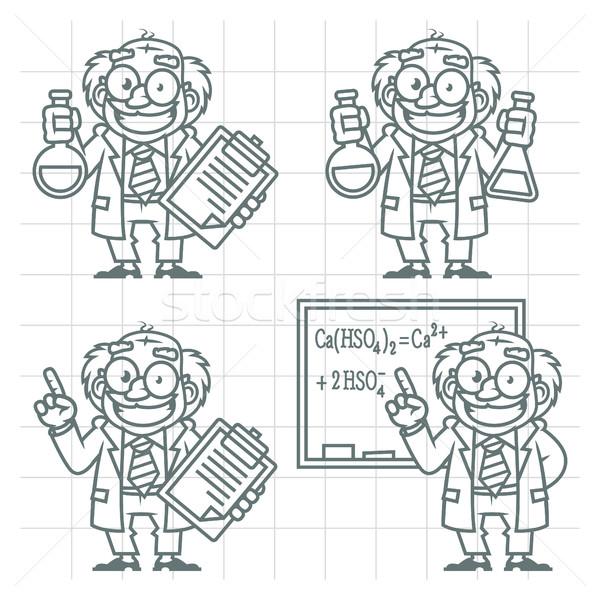 Ayarlamak karakter profesör karalama format eps Stok fotoğraf © yuriytsirkunov