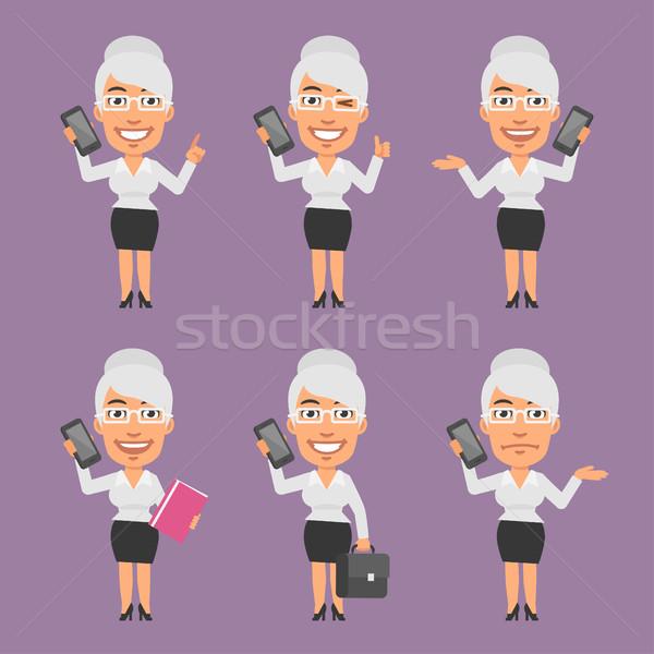 старые деловая женщина мобильного телефона различный формат Сток-фото © yuriytsirkunov