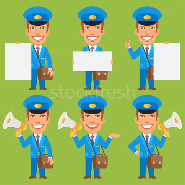 Briefträger halten Papier Megaphon formatieren eps Stock foto © yuriytsirkunov