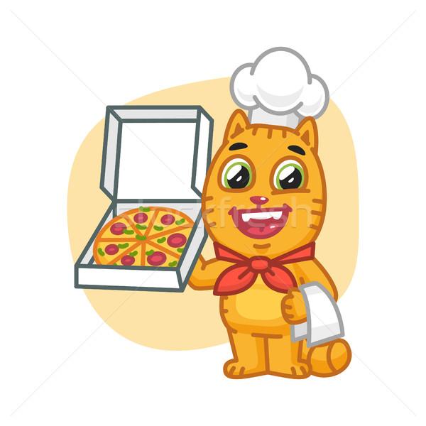 Kat chef pizzadoos formaat eps Stockfoto © yuriytsirkunov