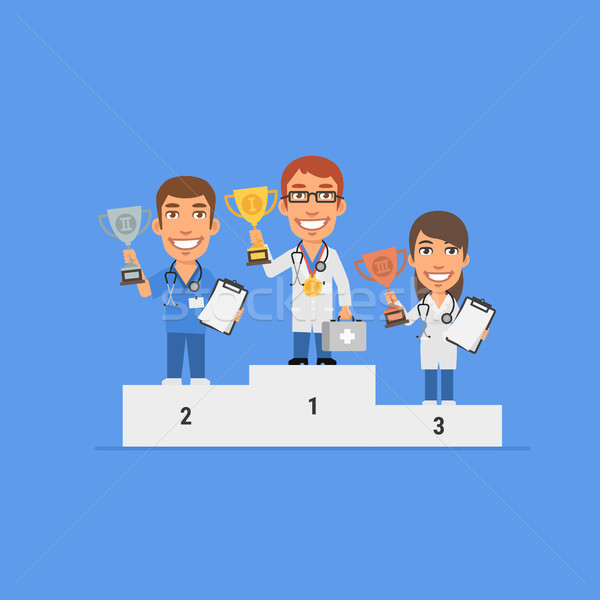 Three doctors holding cup stand on pedestal and smiling Stock photo © yuriytsirkunov