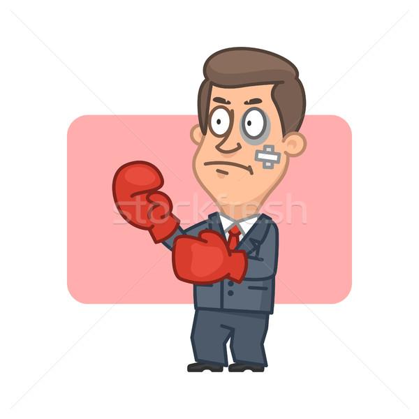 Zakenman permanente vechter bokshandschoenen illustratie formaat Stockfoto © yuriytsirkunov