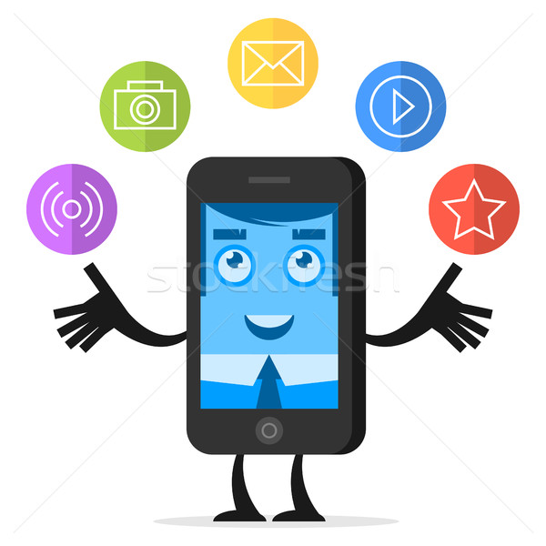 Character phone juggles with media icons Stock photo © yuriytsirkunov
