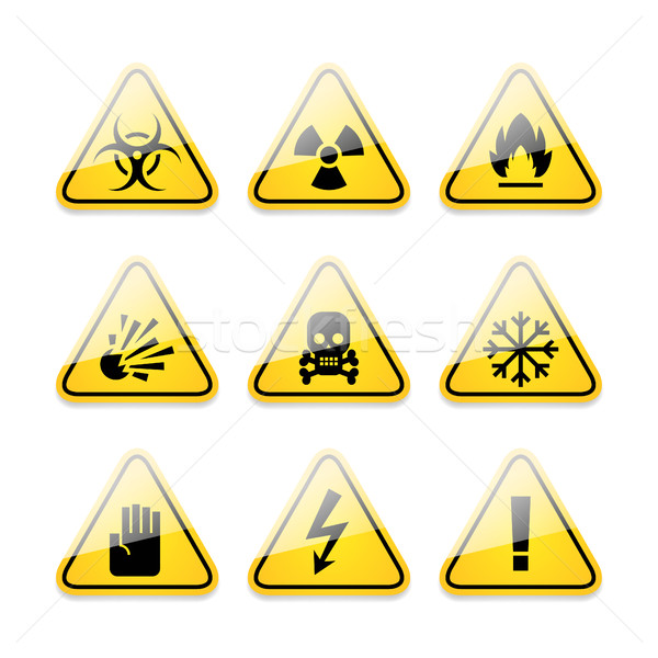Ikonok figyelmeztetés feliratok veszély illusztráció formátum Stock fotó © yuriytsirkunov