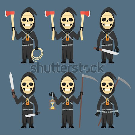 Maniac Holding Shovel Pitchfork Machete Paper Phone Stock photo © yuriytsirkunov
