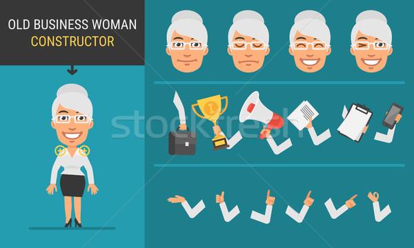 Stockfoto: Karakter · oude · zakenvrouw · mascotte · business · glimlach