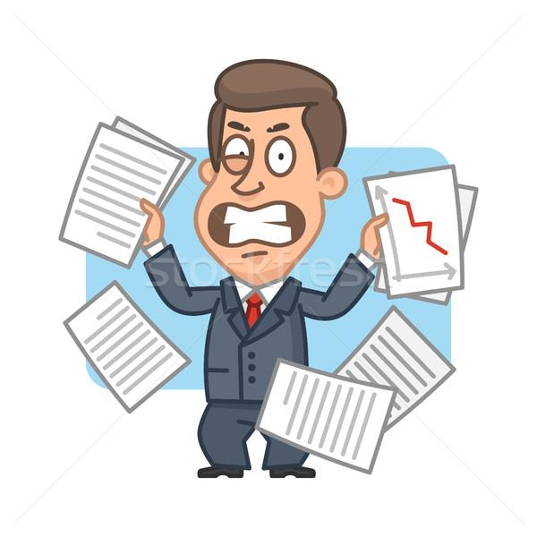 Businessman with papers angry Stock photo © yuriytsirkunov
