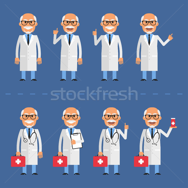 Old doctor in various poses Stock photo © yuriytsirkunov