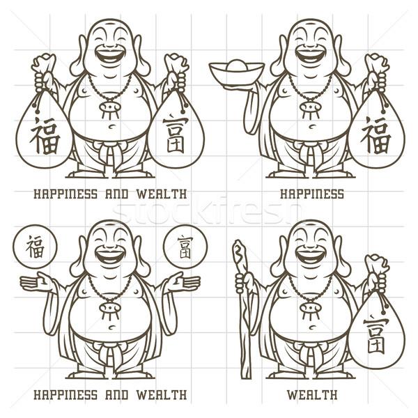 Buddha gives wealth and happiness doodle Stock photo © yuriytsirkunov