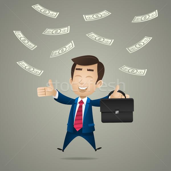 Feliz empresario dólar lluvia ilustración formato Foto stock © yuriytsirkunov