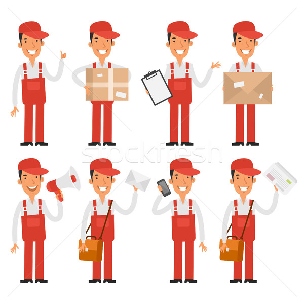 Loader postman in various poses Stock photo © yuriytsirkunov