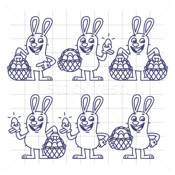 Sketch Easter Bunny Holding Egg and Basket Set Characters Stock photo © yuriytsirkunov
