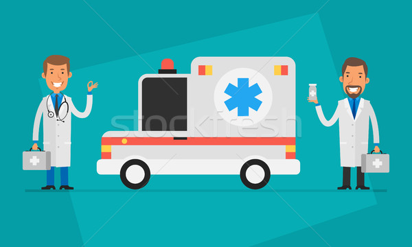 Concept Doctors Day Two Doctors and Ambulance Car Stock photo © yuriytsirkunov