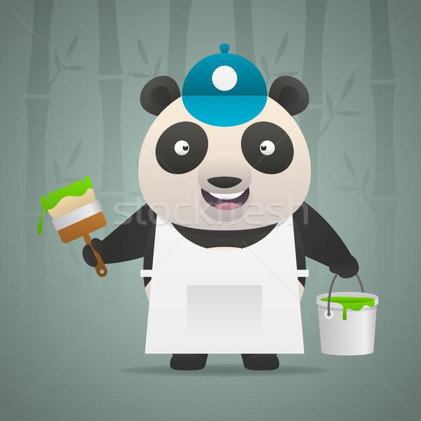 Panda pintor cepillo cubo pintura ilustración Foto stock © yuriytsirkunov
