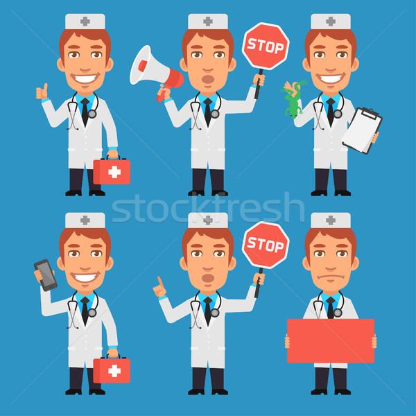 Médico megafone sinal de parada papel telefone formato Foto stock © yuriytsirkunov