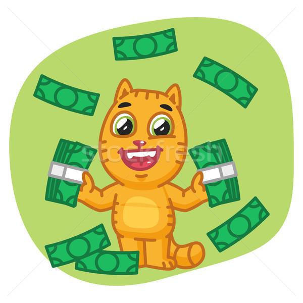 Kedi para mutlu format eps Stok fotoğraf © yuriytsirkunov