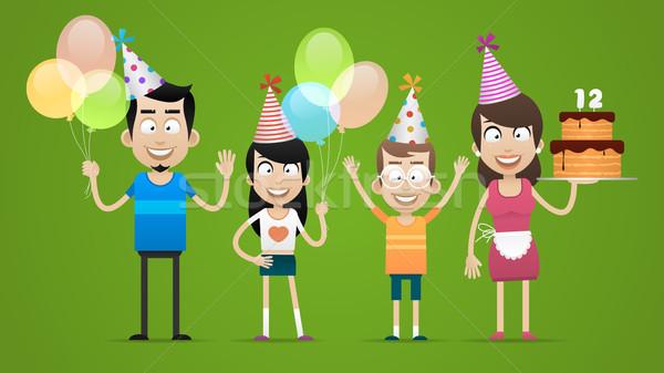 Mutlu aile doğum günü örnek format eps 10 Stok fotoğraf © yuriytsirkunov
