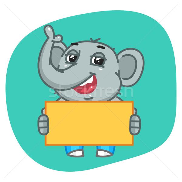 Elephant in Jeans Pants Holding Blank Paper Stock photo © yuriytsirkunov
