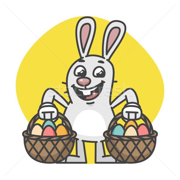 Lapin de Pâques deux oeufs mascotte personnage design Photo stock © yuriytsirkunov