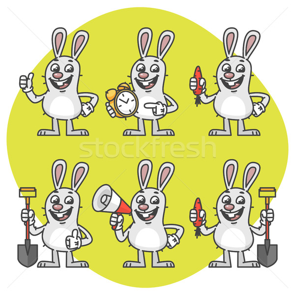 Rabbit Holds Carrot Clock Shovel Megaphone Set Characters Stock photo © yuriytsirkunov