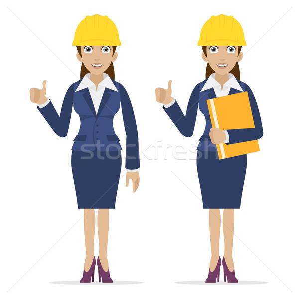 Woman engineer showing thumbs up Stock photo © yuriytsirkunov