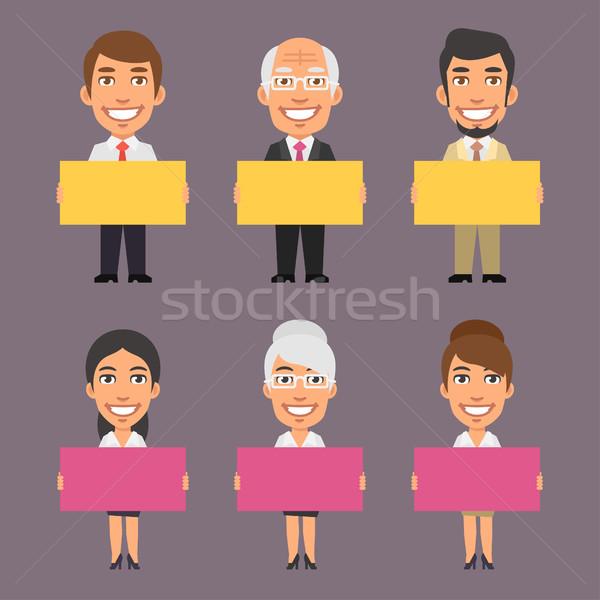 ストックフォト: ビジネスマン · 女性実業家 · 空っぽ · ポスター · フォーマット
