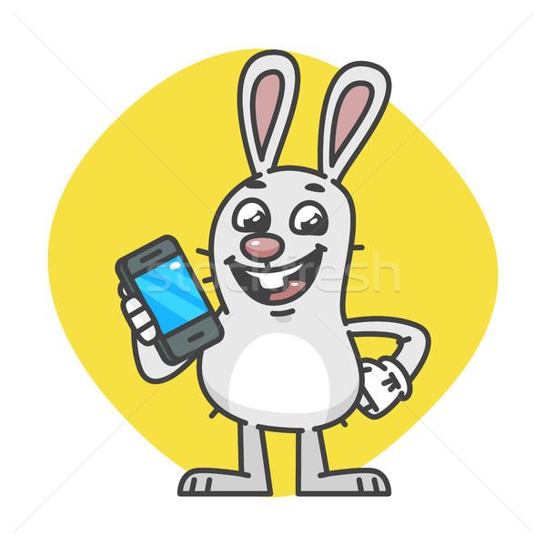 Bunny mobiele telefoon mascotte karakter ontwerp technologie Stockfoto © yuriytsirkunov