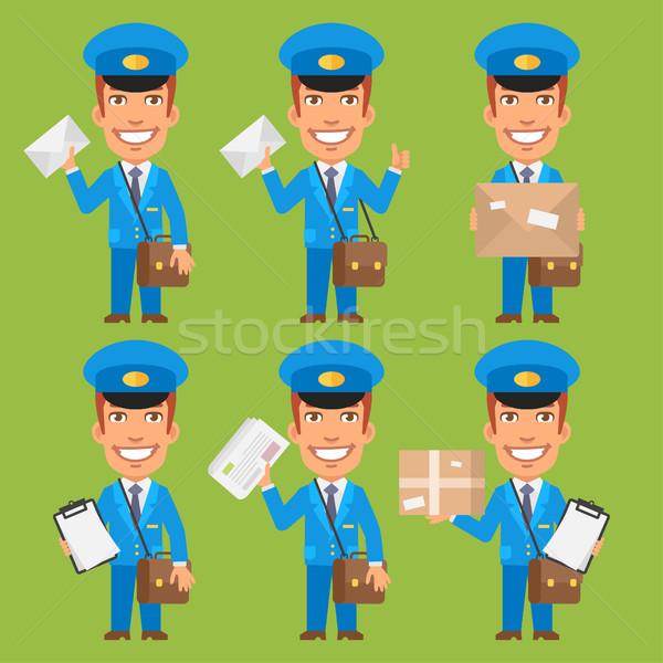 Briefträger halten Schreiben Paket Zeitung formatieren Stock foto © yuriytsirkunov