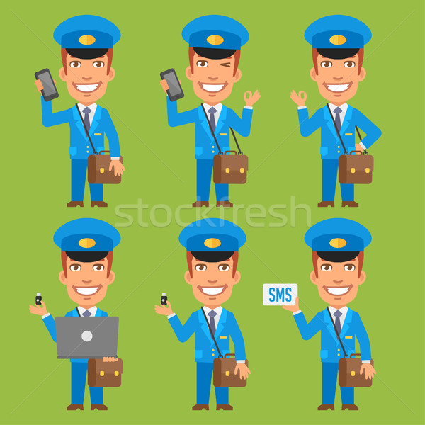 Postman Holding Phone Laptop Flash Drive Stock photo © yuriytsirkunov