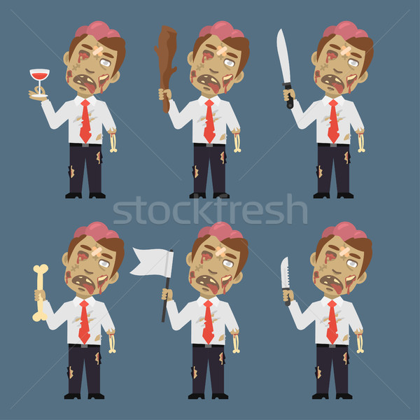 Zombie Holds Flag Baton Bone Knife Stock photo © yuriytsirkunov