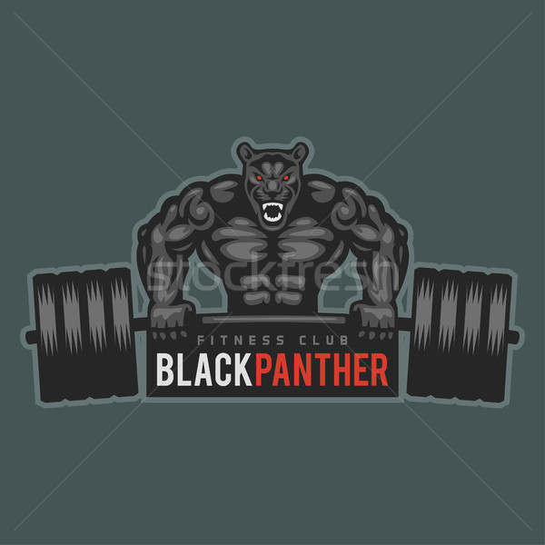 Emblem panther bodybuilder lifting barbell and growls Stock photo © yuriytsirkunov