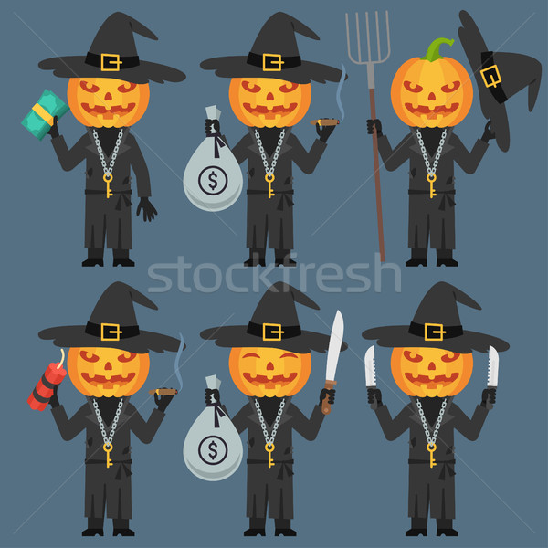 Pumpkin Holds Dynamite Pitchfork Knife Money Stock photo © yuriytsirkunov