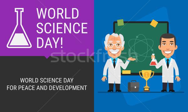 Mondo scienza giorno lavagna scienziati persone Foto d'archivio © yuriytsirkunov
