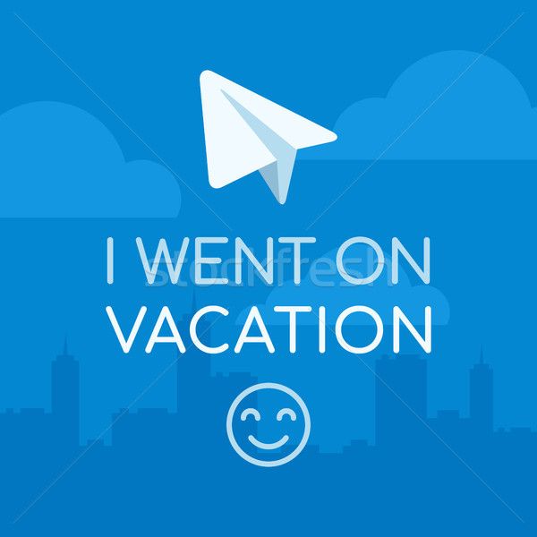 Concept I Went on Vacation Paper Airplane on City Background Blu Stock photo © yuriytsirkunov