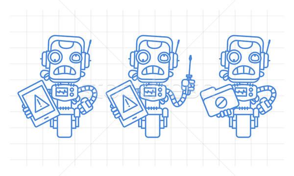 Drie robot karakter tablet schroevendraaier Stockfoto © yuriytsirkunov