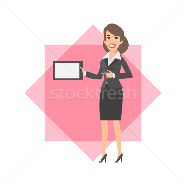 Businesswoman holding tablet and smiling Stock photo © yuriytsirkunov