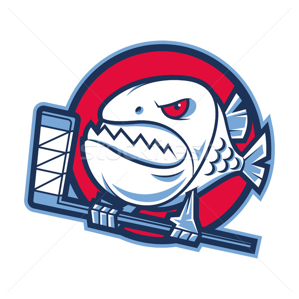 Embleem agressief piranha hockey stick illustratie Stockfoto © yuriytsirkunov